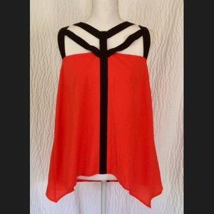Asymmetrical cage tank top blouse L